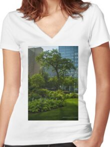 Pittsburgh Pa Garden  Women's Fitted V-Neck T-Shirt
