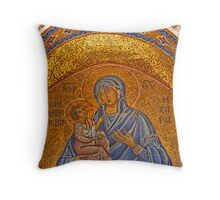 Mary and Baby Jesus - Kapnikarea Church Doorway Throw Pillow