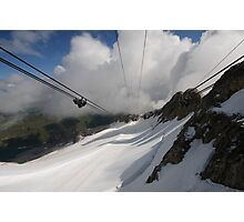 Mount Marmolada in northeastern Italy. The highest mountain of the Dolomites The Cable car  Photographic Print