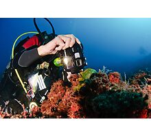 Scuba diver underwater photography in the Mediterranean seabed  Photographic Print