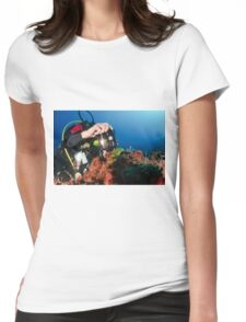 Scuba diver underwater photography in the Mediterranean seabed  Womens Fitted T-Shirt