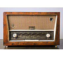 retro Schneider SW radio receiver on white background Photographic Print