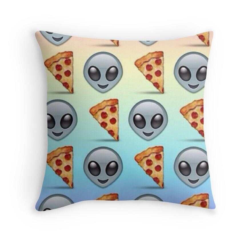 Throw Pillows Elegant : Alien Pizza Emoji Rainbow Pattern by Emoji Mania