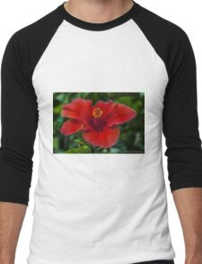 Big Red Hibiscus Flower Men's Baseball ¾ T-Shirt