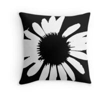 Daisy Crazy - Black & White Throw Pillow