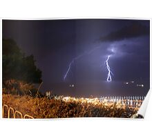 Lightning strikes the Mediterranean Sea.  Poster