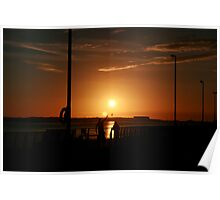 Dog at Sunset Poster
