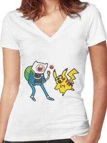 Pokemon Adventure Time Women's Fitted V-Neck T-Shirt