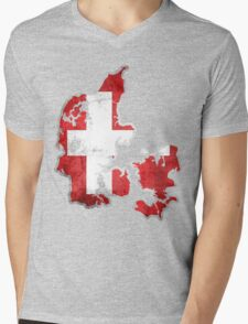 Denmark Flag Map Mens V-Neck T-Shirt