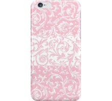 Elegant French Floral Swirls Pink White iPhone Case/Skin