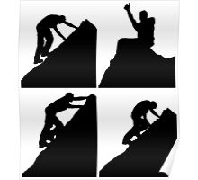 Set of silhouettes of a man climbing a rock Poster