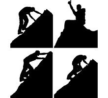 Set of silhouettes of a man climbing a rock Photographic Print