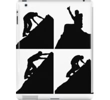 Set of silhouettes of a man climbing a rock iPad Case/Skin