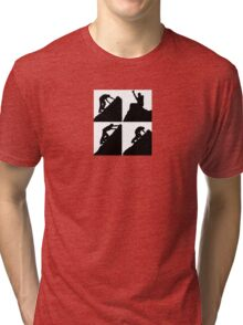 Set of silhouettes of a man climbing a rock Tri-blend T-Shirt