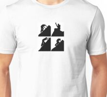 Set of silhouettes of a man climbing a rock Unisex T-Shirt