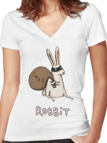 Robbit Women's Fitted V-Neck T-Shirt