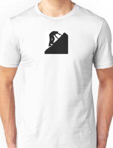 Silhouette of a man climbing a rock Unisex T-Shirt