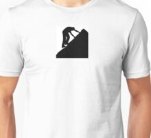 Silhouette of a man climbing a rock Unisex T-Shirt