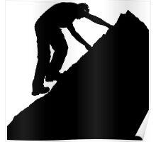 Silhouette of a man climbing a rock Poster