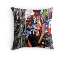 Beautiful Italian Cyclist Throw Pillow