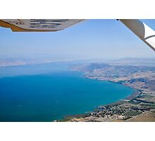 Aerial view of the Sea Of Galilee, Israel Kibbutz Ginosar in the centre  Photographic Print