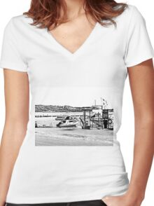Island La Maddalena: sea landscape and boats Women's Fitted V-Neck T-Shirt
