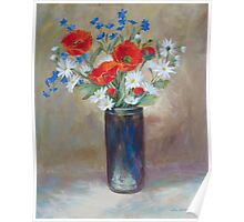 Red Poppies in Raku Pottery Poster