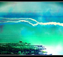 Red Arrows over Carrickfergus Northern Ireland by Gingercrafts