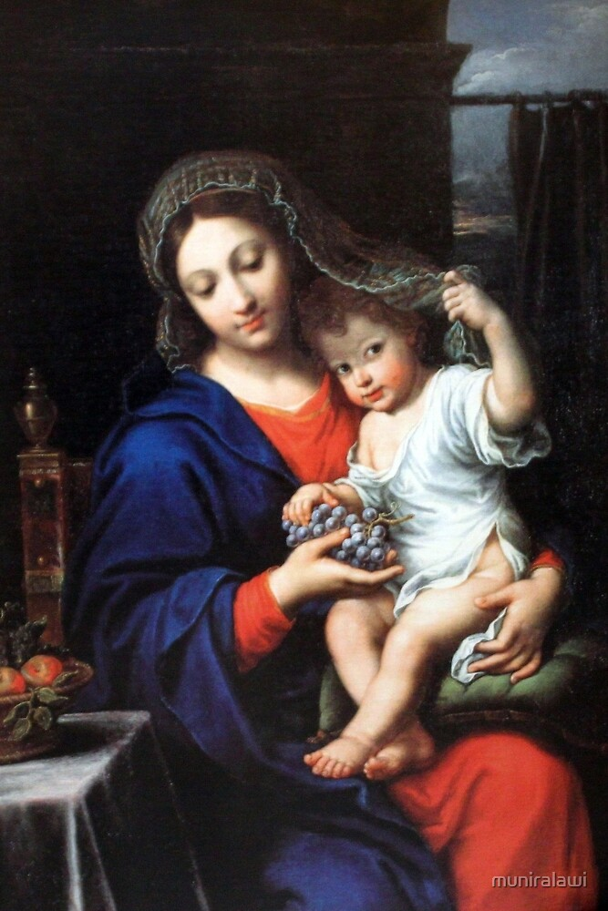 Baby Jesus and Mary Painting by muniralawi