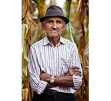 Old man at corn harvest Photographic Print