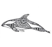 Hourglass Dolphin Custom Henna Zentangle Drawing Photographic Print