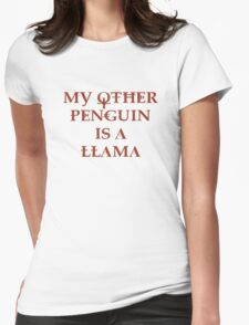 Penguin Llama Womens Fitted T-Shirt