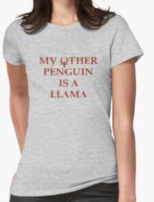 Penguin Llama Womens Fitted T-Shirt