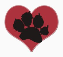 Paw Print Heart 2: Red and Black Kids Clothes