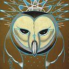 icy barn owl totem by resonanteye
