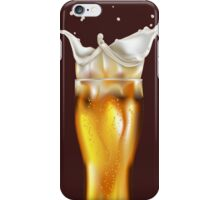 Glass of light beer with splashing foam iPhone Case/Skin