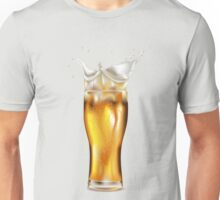 Glass of light beer with splashing foam Unisex T-Shirt