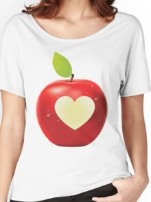Heart bite red apple Women's Relaxed Fit T-Shirt