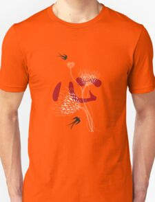 Black Swallows With Red Chinese Heart and White Blooms Unisex T-Shirt