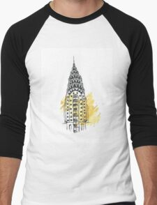 Chrysler Building Pen Sketch Men's Baseball ¾ T-Shirt