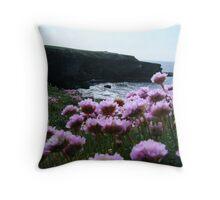 Sea Pinks and Kilkee Cliffs Throw Pillow