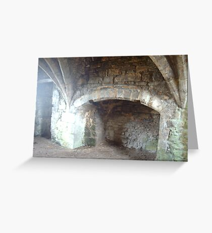 Egglestone Abbeys Vaulted ceiling.and fireplace Greeting Card