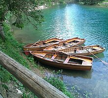 Braies Lake with Rowboats by ele94rhcp