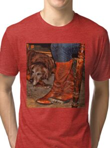 Boots and Buddy Painted Tri-blend T-Shirt