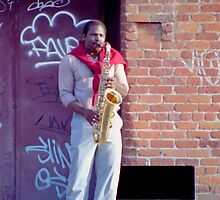 Sax Player near Fisherman's Wharf by SteveOhlsen