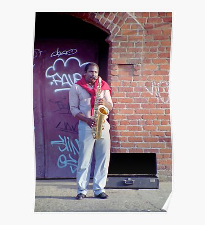 Sax Player near Fisherman's Wharf Poster