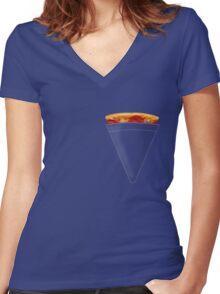 Pizza Pocket Women's Fitted V-Neck T-Shirt