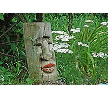 Red Lipped Indian Totem Among White Wildflowers Photographic Print