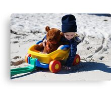 Taking a ride with teddy. Canvas Print