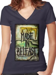 Made in Belfast oil pastel Women's Fitted V-Neck T-Shirt